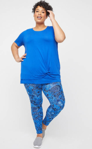 Woman wearing blue psychedelic pants